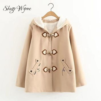 Cat Jacket For Women Cute Hooded Long Sleeve Cat Embroidery Velvet Thick Jacket Horn Button