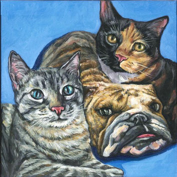 Custom Pet Portrait, pet painting, cat portrait, dog painting, pet pop art, acrylic on a 12x12 canvas