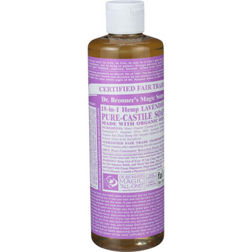 Dr. Bronner's Pure Castile Soap - Fair Trade and Organic - Liquid - 18 in 1 Hemp - Lavender - 16 oz