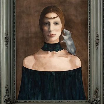 """""""Picture Me Upon Your Knees"""" by Barbara Hangan, Mixed Media on Panel, Vintage Frame"""