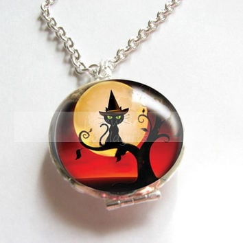 Black Cat Locket Necklace Halloween Silver Plated Filigree Pendant Jewelry chains birthday