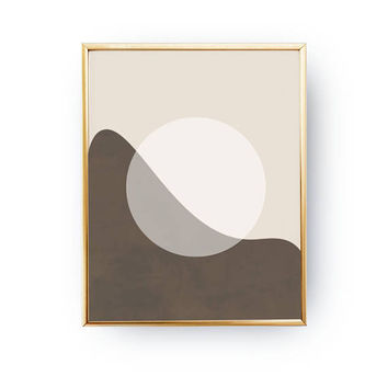 Brown Artwork, White Circle, Textured Pastel, Minimal Poster, Abstract Shapes, Simple Art, Geometric Textures, Mid Century, Modern Design