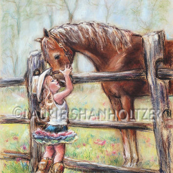 "girl and horse art,""Cowgirl Whispers"" Flat archival canvas or paper print, child wall art, western horse art, Laurie Shanholtzer"