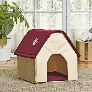 HOT!! Dog Bed Cama Para Cachorro Soft Dog House+Blanket Option Pet Cat Dog Home Shape 2 Colors Red/Green Puppy Kennel Soft
