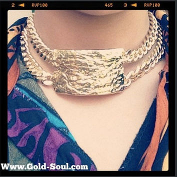 Gold ID Chunky Necklace, Double Chain chunky necklace