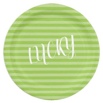 Green Stripes. Lucky. Paper Plate