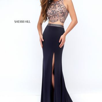 Sherri Hill 50157 Gunmetal Pink Two Piece Prom Dress