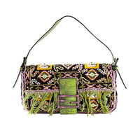 Vintage Fendi Embroidered Shoulder Bag