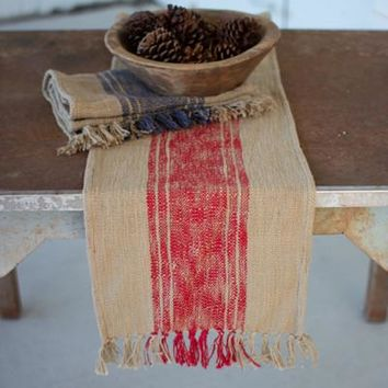Set of 2 Woven Red & Blue Table Runners