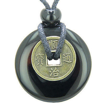 Antique Lucky Coin Spiritual Powers Amulet Black Onyx Gemstone 30mm Donut Pendan