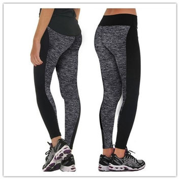 Women Fashion soft strechy Black And Gray Paneled Plus Slimming Pants Leggings For Running/Yoga/Sport/Sleep [8403256903]