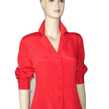 French Vintage 50s CORAL Red Pure Brushed Silk Tailored SHIRT Blouse
