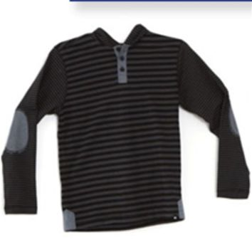 Distortion Hooded Striped Henley for Boys LH24140B
