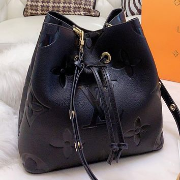 LV Louis Vuitton New fashion monogram leather shoulder bag bucket bag handbag crossbody bag Black