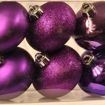6 pack Pruple Smooth Shatterproof Onion Ornaments Case Pack 7