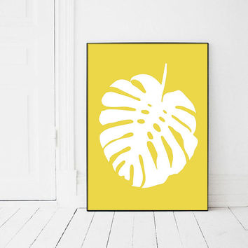 Tropical Wall Art Print, Monstera Leaf, Yellow Prints, Botanical Print, Palm Leaves, Plants Print, Leaves, Scandinavian Art, Affiche Jaune