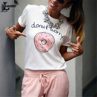 """Lei-SAGLY New! Cute! """"donut worry"""" Letter With Doughnut Printed White T shirts Harajuku Short Sleeve Casual Kawaii T-shirt F1762"""