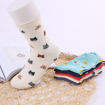 2018 Fashion Cotton Winter Autumn New Women In Tube Socks cat Animal High Quality Breathable Female Casual sock