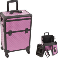 Sunrise Cases Diamond Pattern Interchangeable Professional Rolling Cosmetic Makeup Train Case