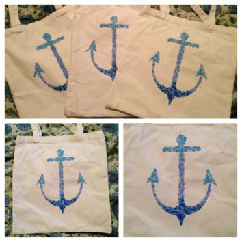 Blue Ombre Anchor Beach Bag by DreamsAndMooonbeams on Etsy