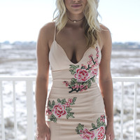 Angel Island Nude Embroidered Bodycon Dress