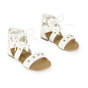 Koala Kids White Hard Sole Lace Up Sandals with Studded Straps