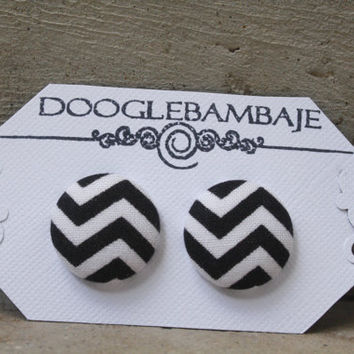 Chevron Design- Black & White Zigzag Stripes Lines Fabric Button Stud Post Earrings- Wedding