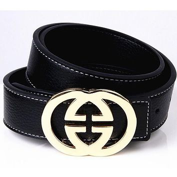 GUCCI 2 G Woman Fashion Smooth Buckle Belt Leather Belt-4