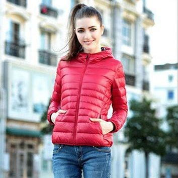Women Winter Goose down coats Zipper Hooded Coat Thin Candy color Down & Parkas Jacket