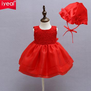IYEAL Kids Newborn Christmas Baby Girls Toddler Princess Pageant Party Tutu Bow Infant Dresses With Bonnet for 1 Year Birthday