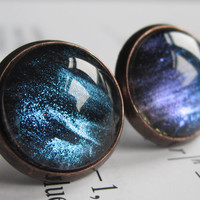 Ison - Earring studs - science jewelry - science earrings - galaxy jewelry - physics earrings - fake plugs - plug earring - nebula studs