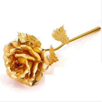 24k Golden Rose Gold Foil Plated Rose Decoration Gold flore artificiales Dipped 24K Gold Rose artificial flower Personalized