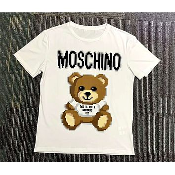 Moschino 2019 new mosaic bear print loose round neck half sleeve t-shirt white