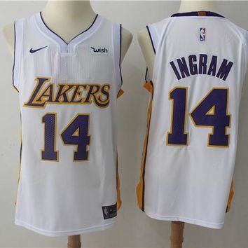 NBA Authentic Basketball Player Jerseys Los Angeles Lakers # 14 Brandon Ingram White