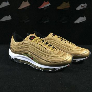 "Nike Air Max 97 OG QS 2017 RELEASE ""Metallic Gold"" 884421 700 metallic gold varsity red"