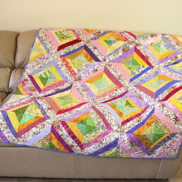 My Crazy Garden Strings Lap Quilt, Pink Lavender Green and Yellow Sofa Throw