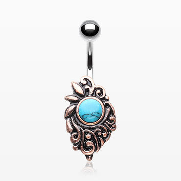 Vintage Rustica Opal Sparkle Medieval Belly Button Ring