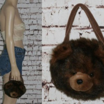 Kawaii Teddy Bear Purse Plush Furry Fuzzy Plushy Clutch Handbag Lolita Pastel Goth Grunge Wristlet 90s brown hipster Bag Cute