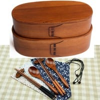 Wooden Dinnerware Set Two Layers Bento Box Natural Painting Sushi Box Food Container With Spoon Chopsticks and Rack Set