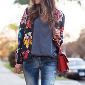 Loose Floral Print Zipper Jacket