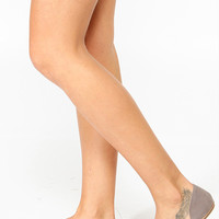 Bamboo Taupe  Pointy Toe Zipper Flat