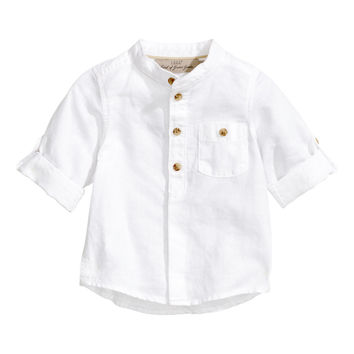 H&M - Linen-blend Shirt - White - Kids