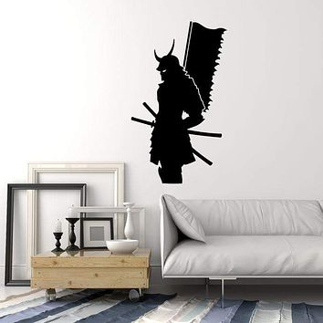 Vinyl Wall Decal Silhouette Samurai Warrior with Flag Japanese Art Stickers Mural Unique Gift (ig5101)