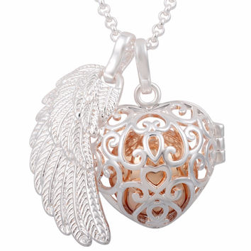 FH112 Maternity Jewelry Silvery Plated Angel Wing Pendant Harmony Locket Cage Mexican Ball Necklace for Pregnant Women