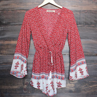 reverse - indie border print front wrap romper in red