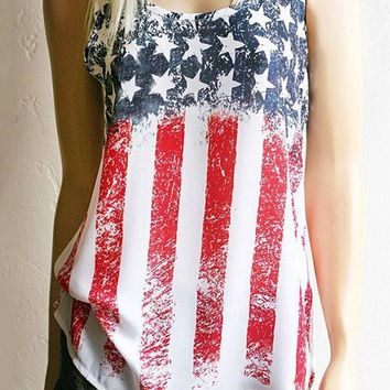 Multicolor Striped?American?Flag?Print Spaghetti Strap Vest