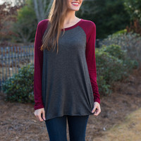 Baseball Baby Top, Gray/Burgundy