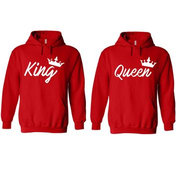 Handwrite King and Queen Red Hoodie