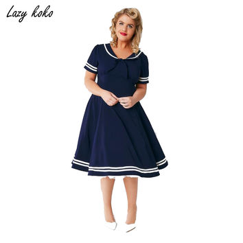 New Preppy Style Plus Size Women Clothing Navy Blue Solid Sailor Collar With Bow Front Dress Big Size A-Line Dress