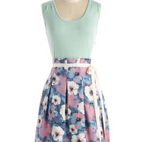 Pink Martini Vintage Inspired Mid-length Sleeveless A-line Scenic Roadtrip Dress in Mint Garden